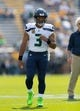 Sep 10, 2017; Green Bay, WI, USA; Seattle Seahawks quarterback Russell Wilson (3) during warmups prior to the game against the Green Bay Packers at Lambeau Field. Mandatory Credit: Jeff Hanisch-USA TODAY Sports