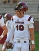Sep 9, 2017; Columbia, MO, USA; South Carolina Gamecocks quarterback Jake Bentley (19) warms up before the game against the Missouri Tigers at Faurot Field. Mandatory Credit: Denny Medley-USA TODAY Sports