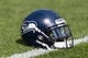 Sep 10, 2017; Green Bay, WI, USA; An Seattle Seahawks helmet sits on the field during warmups prior to the game against the Green Bay Packers at Lambeau Field. Mandatory Credit: Jeff Hanisch-USA TODAY Sports