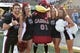 Sep 9, 2017; Columbia, MO, USA; South Carolina Gamecocks cheerleaders and the mascot pose for a photo on field before the game against the Missouri Tigers at Faurot Field. Mandatory Credit: Denny Medley-USA TODAY Sports