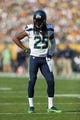 Sep 10, 2017; Green Bay, WI, USA; Seattle Seahawks cornerback Richard Sherman (25) during the game against the Green Bay Packers at Lambeau Field. Mandatory Credit: Jeff Hanisch-USA TODAY Sports