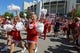Sep 23, 2017; Bloomington, IN, USA; A view of cheerleaders as members of the Indiana Hoosiers football team prepare to enter Memorial Stadium prior to a game against the Georgia Southern Eagles. Mandatory Credit: Aaron Doster-USA TODAY Sports