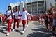 Sep 23, 2017; Bloomington, IN, USA; Members of the Indiana Hoosiers football team walk to Memorial Stadium prior to a game against the Georgia Southern Eagles. Mandatory Credit: Aaron Doster-USA TODAY Sports