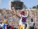 Sep 23, 2017; Berkeley, CA, USA; USC Trojans tight end Tyler Petite (82) reacts after scoring a touchdown against the California Golden Bears in the second quarter at Memorial Stadium. Mandatory Credit: John Hefti-USA TODAY Sports