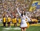 Sep 23, 2017; Berkeley, CA, USA;  A USC Trojans cheerleader performs before the game against the California Golden Bears in the first quarter at Memorial Stadium. Mandatory Credit: John Hefti-USA TODAY Sports