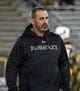 Sep 23, 2017; Laramie, WY, USA; Hawaii Warriors head coach Nick Rolovich before game against the Wyoming Cowboys at War Memorial Stadium. Mandatory Credit: Troy Babbitt-USA TODAY Sports
