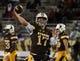 Sep 23, 2017; Laramie, WY, USA; Wyoming Cowboys quarterback Josh Allen (17) warms up before game against the Hawaii Warriors at War Memorial Stadium. Mandatory Credit: Troy Babbitt-USA TODAY Sports