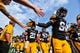 Sep 16, 2017; Iowa City, IA, USA; Iowa Hawkeyes wide receiver Nick Easley (84) and running back Ivory Kelly-Martin (21) walk off the field with teammates before the game against the North Texas Mean Green at Kinnick Stadium. Mandatory Credit: Jeffrey Becker-USA TODAY Sports