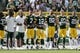 Sept 24, 2017; Green Bay, WS, USA; Green Bay Packers players link arms during the national anthem prior to their game against the Cincinnati Bengals. Mandatory Credit: Adam Wesley/Green Bay Press-Gazette via USA TODAY Sports