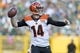 Sep 24, 2017; Green Bay, WI, USA; Cincinnati Bengals quarterback Andy Dalton (14) throws a pass during the second quarter against the Green Bay Packers at Lambeau Field. Mandatory Credit: Jeff Hanisch-USA TODAY Sports