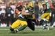 Sep 24, 2017; Green Bay, WI, USA; Green Bay Packers wide receiver Jordy Nelson (87) is tackled by Cincinnati Bengals safety George Iloka (43) after catching a pass during the first quarter at Lambeau Field. Mandatory Credit: Jeff Hanisch-USA TODAY Sports