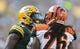 Sep 24, 2017; Green Bay, WI, USA; Green Bay Packers cornerback Lenzy Pipkins (41) and Cincinnati Bengals cornerback Josh Shaw (26) argue following a play during the second quarter at Lambeau Field. Mandatory Credit: Jeff Hanisch-USA TODAY Sports