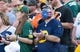 Sep 24, 2017; Green Bay, WI, USA; A Green Bay Packers fan has a beard painted like the American flag prior to the game against the Cincinnati Bengals at Lambeau Field. Mandatory Credit: Jeff Hanisch-USA TODAY Sports