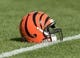 Sep 24, 2017; Green Bay, WI, USA; An Cincinnati Bengals helmet sits on the field prior to the game against the Green Bay Packers at Lambeau Field. Mandatory Credit: Jeff Hanisch-USA TODAY Sports