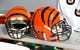 Sep 24, 2017; Green Bay, WI, USA; Cincinnati Bengals helmets sit on a bench prior to the game against the Green Bay Packers at Lambeau Field. Mandatory Credit: Jeff Hanisch-USA TODAY Sports