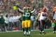 Sep 24, 2017; Green Bay, WI, USA; Green Bay Packers cornerback Damarious Randall (23) celebrates during the game against the Cincinnati Bengals at Lambeau Field. Mandatory Credit: Jeff Hanisch-USA TODAY Sports