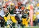 Sep 24, 2017; Green Bay, WI, USA; Cincinnati Bengals running back Joe Mixon (28) during the game against the Green Bay Packers at Lambeau Field. Mandatory Credit: Jeff Hanisch-USA TODAY Sports