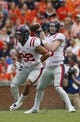 Oct 7, 2017; Auburn, AL, USA; Ole Miss Rebels quarterback Shea Patterson (20) drops back to pass against the Auburn Tigers during the first quarter at Jordan-Hare Stadium. Mandatory Credit: John Reed-USA TODAY Sports