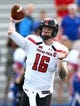 Oct 7, 2017; Lawrence, KS, USA; Texas Tech Red Raiders quarterback Nic Shimonek (16) throws a pass against the Kansas Jayhawks in the first half at Memorial Stadium. Mandatory Credit: Jay Biggerstaff-USA TODAY Sports