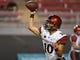 Oct 7, 2017; Las Vegas, NV, USA; San Diego State Aztecs quarterback Christian Chapman (10) warms up before a game against the UNLV Rebels at Sam Boyd Stadium. Mandatory Credit: Stephen R. Sylvanie-USA TODAY Sports