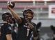 Oct 7, 2017; Las Vegas, NV, USA; UNLV Rebels quarterback Armani Rogers (1) warms up before a game against the San Diego Aztecs at Sam Boyd Stadium. Mandatory Credit: Stephen R. Sylvanie-USA TODAY Sports