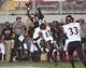 Oct 7, 2017; Las Vegas, NV, USA; UNLV Rebels wide receiver Devonte Boyd (83) misses a pass under the coverage of San Diego Aztecs cornerback Ron Smith (17) at Sam Boyd Stadium. Mandatory Credit: Stephen R. Sylvanie-USA TODAY Sports