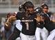 Oct 7, 2017; Las Vegas, NV, USA; UNLV Rebels quarterback Armani Rogers (1) runs out of the pocket during a game against the San Diego Aztecs at Sam Boyd Stadium. Mandatory Credit: Stephen R. Sylvanie-USA TODAY Sports