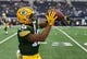 Oct 8, 2017; Arlington, TX, USA; Green Bay Packers wide receiver Randall Cobb (18) makes a catch prior to the game against the Dallas Cowboys at AT&T Stadium. Mandatory Credit: Matthew Emmons-USA TODAY Sports