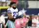 Oct 8, 2017; Arlington, TX, USA; Dallas Cowboys running back Ezekiel Elliott (21) prior to the game against the Green Bay Packers at AT&T Stadium. Mandatory Credit: Matthew Emmons-USA TODAY Sports