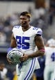 Oct 8, 2017; Arlington, TX, USA; Dallas Cowboys defensive tackle David Irving (95) on the field before the game against the Green Bay Packers at AT&T Stadium. Mandatory Credit: Tim Heitman-USA TODAY Sports