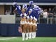 Oct 8, 2017; Arlington, TX, USA; Dallas Cowboys cheerleaders perform prior to the game against the Green Bay Packers at AT&T Stadium. Mandatory Credit: Matthew Emmons-USA TODAY Sports