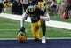 Oct 8, 2017; Arlington, TX, USA; Green Bay Packers cornerback Damarious Randall (23) takes a moment on a knee prior to the game against the Dallas Cowboys at AT&T Stadium. Mandatory Credit: Matthew Emmons-USA TODAY Sports