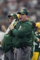 Oct 8, 2017; Arlington, TX, USA; Green Bay Packers head coach Mike McCarthy on the sidelines against the Dallas Cowboys at AT&T Stadium. Mandatory Credit: Matthew Emmons-USA TODAY Sports