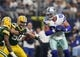 Oct 8, 2017; Arlington, TX, USA; Dallas Cowboys tight end Jason Witten (82) runs with the ball after a reception against Green Bay Packers linebacker Blake Martinez (50) in the first quarter at AT&T Stadium. Mandatory Credit: Matthew Emmons-USA TODAY Sports