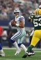Oct 8, 2017; Arlington, TX, USA; Dallas Cowboys quarterback Dak Prescott (4) throws in the pocket against the Green Bay Packers at AT&T Stadium. Mandatory Credit: Matthew Emmons-USA TODAY Sports