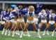 Oct 8, 2017; Arlington, TX, USA; Dallas Cowboys cheerleader performs during a timeout from the game against the Green Bay Packers at AT&T Stadium. Mandatory Credit: Matthew Emmons-USA TODAY Sports