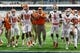 Oct 13, 2017; Syracuse, NY, USA; Clemson Tigers head coach Dabo Swinney walks with his players arm and arm during warm ups prior to the game against the Syracuse Orange at the Carrier Dome. Mandatory Credit: Rich Barnes-USA TODAY Sports