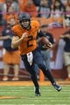 Oct 13, 2017; Syracuse, NY, USA; Syracuse Orange quarterback Eric Dungey (2) runs the ball against the Clemson Tigers  during the first half of the game at Carrier Dome. Mandatory Credit: Gregory J. Fisher-USA TODAY Sports