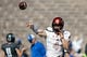 Oct 14, 2017; Colorado Springs, CO, USA; UNLV Rebels quarterback Johnny Stanton (4) warms up before the game against the Air Force Falcons at Falcon Stadium. Mandatory Credit: Isaiah J. Downing-USA TODAY Sports
