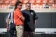 Oct 14, 2017; Stillwater, OK, USA; Oklahoma State Cowboys head coach Mike Gundy and Baylor Bears head coach Matt Rhule talk prior to the game at Boone Pickens Stadium. Mandatory Credit: Rob Ferguson-USA TODAY Sports