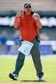 Oct 14, 2017; Colorado Springs, CO, USA; UNLV Rebels head coach Tony Sanchez reacts after a play in the first quarter against the Air Force Falcons at Falcon Stadium. Mandatory Credit: Isaiah J. Downing-USA TODAY Sports