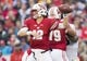 Oct 14, 2017; Madison, WI, USA; Wisconsin Badgers quarterback Alex Hornibrook (12) throws a pass during the second quarter against the Purdue Boilermakers at Camp Randall Stadium. Mandatory Credit: Jeff Hanisch-USA TODAY Sports