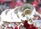 Oct 14, 2017; Madison, WI, USA; A reflection of Camp Randall Stadium in a Wisconsin band tuba  prior to the game against the Purdue Boilermakers at Camp Randall Stadium. Mandatory Credit: Jeff Hanisch-USA TODAY Sports