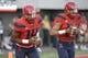 Oct 14, 2017; Tucson, AZ, USA; Arizona Wildcats quarterback Khalil Tate (14) and quarterback Brandon Dawkins (13) (right) warm up before the game against the UCLA Bruins at Arizona Stadium. Mandatory Credit: Casey Sapio-USA TODAY Sports