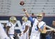 Oct 14, 2017; Tucson, AZ, USA; UCLA Bruins quarterback Josh Rosen (3) warms up before the game against the Arizona Wildcats at Arizona Stadium. Mandatory Credit: Casey Sapio-USA TODAY Sports