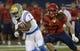 Oct 14, 2017; Tucson, AZ, USA; UCLA Bruins wide receiver Darren Andrews (7) runs the ball as Arizona Wildcats linebacker Colin Schooler (7) defends during the first half against the UCLA Bruins at Arizona Stadium. Mandatory Credit: Casey Sapio-USA TODAY Sports