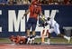 Oct 14, 2017; Tucson, AZ, USA; Arizona Wildcats cornerback Jace Whittaker (17) scores a touchdown after intercepting the ball during the first half against the UCLA Bruins at Arizona Stadium. Mandatory Credit: Casey Sapio-USA TODAY Sports