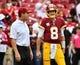 Oct 15, 2017; Landover, MD, USA; Washington Redskins head coach Jay Gruden  talks with quarterback Kirk Cousins (8) before the game between the Washington Redskins and the San Francisco 49ers at FedEx Field. Mandatory Credit: Brad Mills-USA TODAY Sports