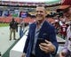 Oct 15, 2017; Landover, MD, USA; American actor Josh Brolin on the field before the game between the Washington Redskins and the San Francisco 49ers at FedEx Field. Mandatory Credit: Brad Mills-USA TODAY Sports
