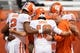 Oct 13, 2017; Syracuse, NY, USA; The Clemson Tigers quarterbacks huddle prior to warming up for the game against the Syracuse Orange at the Carrier Dome. Mandatory Credit: Rich Barnes-USA TODAY Sports